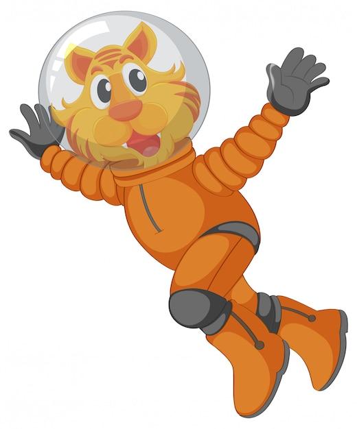Ein tiger-astronauten-charakter Kostenlosen Vektoren