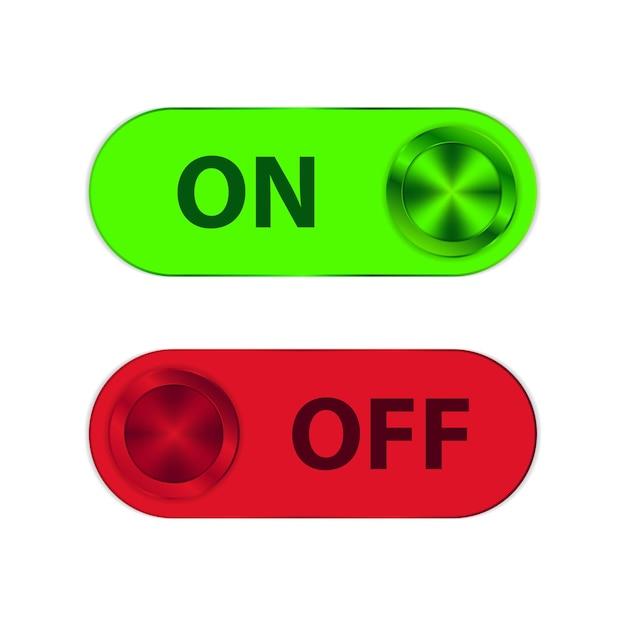 Ein- und ausschalter mit grünen und roten metallic-formen Premium Vektoren