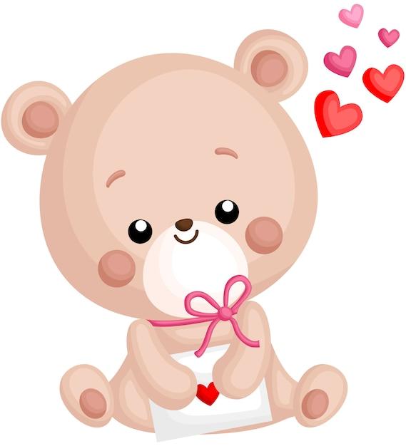 Ein vektor des netten kleinen bären, der liebesbrief hält Premium Vektoren