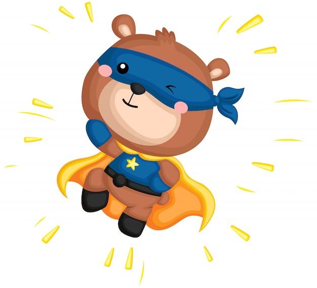 Ein vektor eines bären in einem superheldkostüm Premium Vektoren