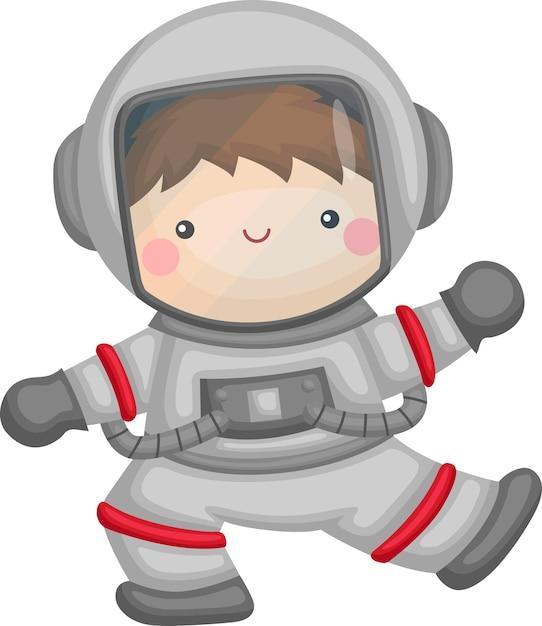 Ein vektor eines niedlichen kindes mit einem astronautenanzug Kostenlosen Vektoren