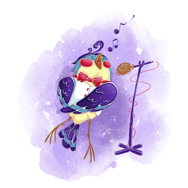 Ein vogel in einer weißen weste und einer fliege singt in ein mikrofon. Premium Vektoren
