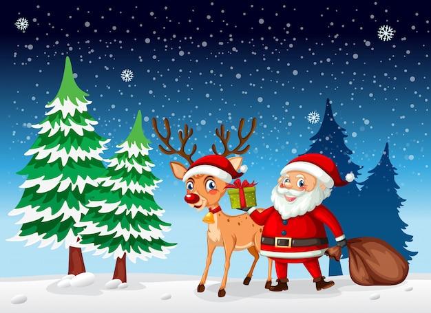 Ein weihnachtsmann im winterschnee Kostenlosen Vektoren
