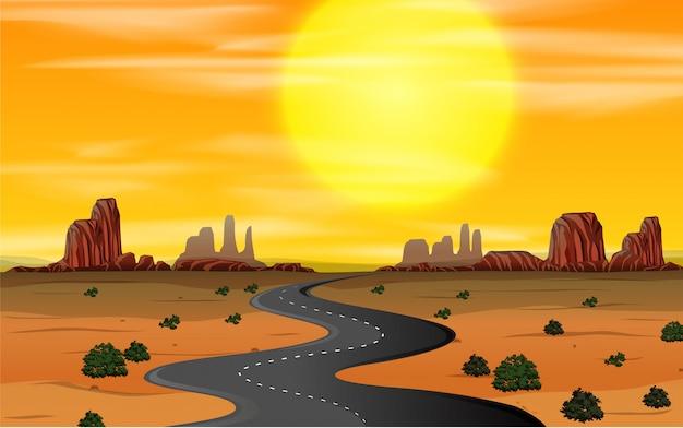 Ein wilder westen szene sonnenuntergang Kostenlosen Vektoren