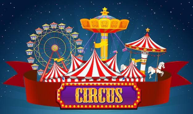 Ein zirkus banner am himmel Kostenlosen Vektoren