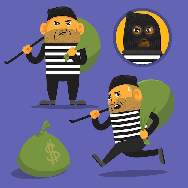 Einbrecherkarikaturabbildung Premium Vektoren