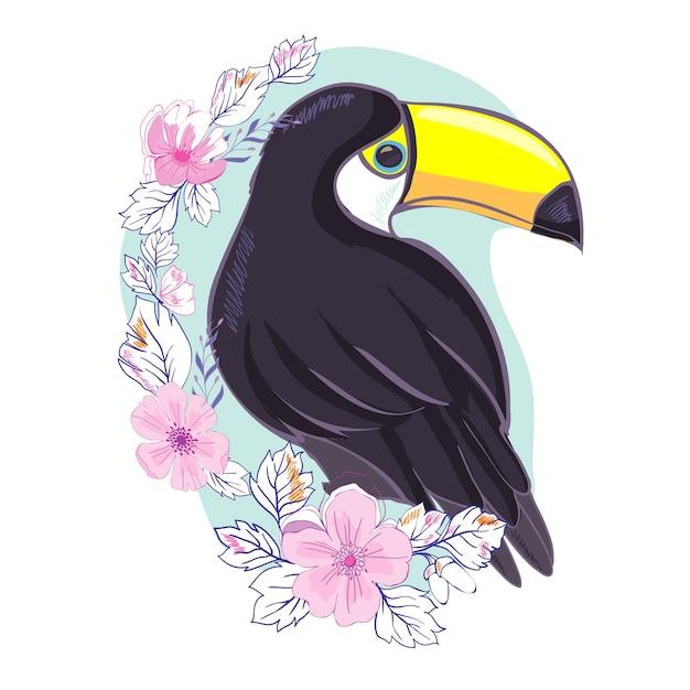 Eine abbildung eines netten tukans im vektorformat. ein niedliches tukanvogelbild für die bildung und den spaß des kindes im kinderzimmer und in den schulen und in den dekorationszwecken Premium Vektoren