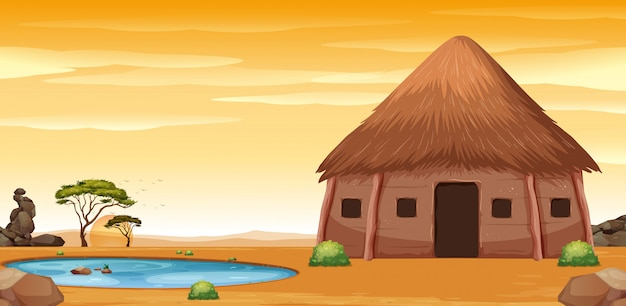 Eine afrikanische hütte in der wüste Premium Vektoren