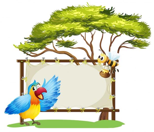 Eine anschlagtafel, ein vogel und eine honigbiene Kostenlosen Vektoren