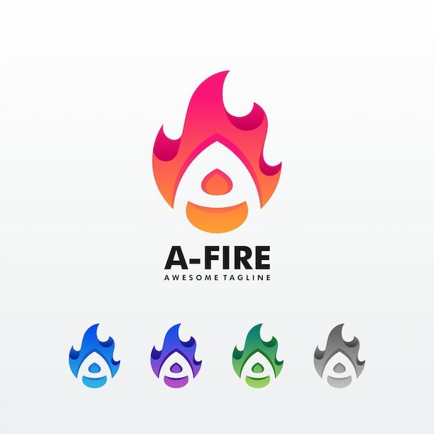 Eine buchstabe-feuer-flammen-illustrations-vektor-schablone Premium Vektoren