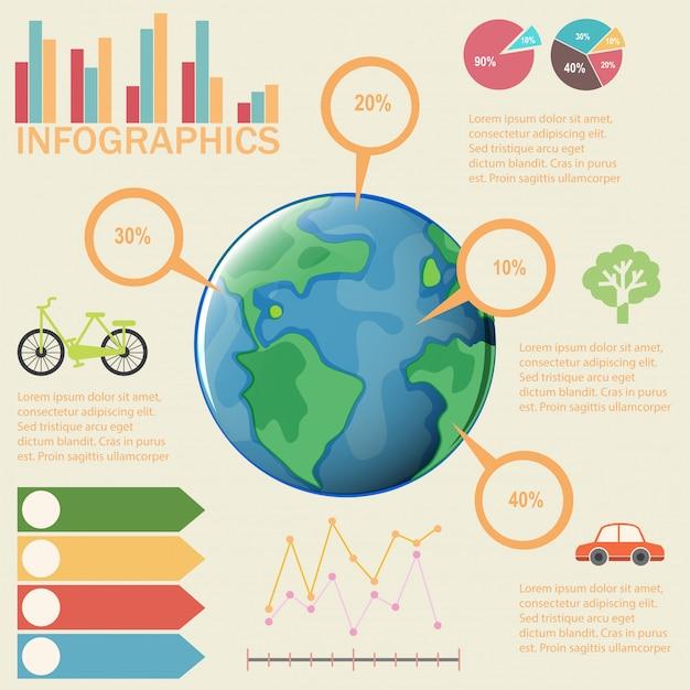 Eine bunte infografik der erde Kostenlosen Vektoren
