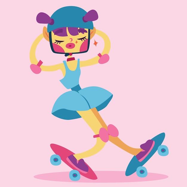 Eine bunte vektorzeichentrickfilm-figur des hippie-skaterjungen. Premium Vektoren