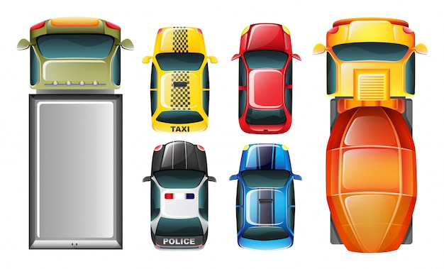 Eine draufsicht auf die geparkten fahrzeuge Kostenlosen Vektoren