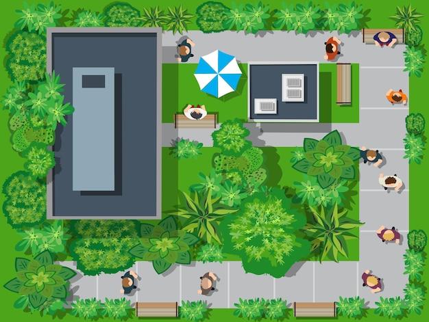Eine draufsicht von oben ist ein stadtplan eines stadtparks mit straßen und bäumen, menschen und bänken. stock vektor-illustration von design und kreativität. Premium Vektoren