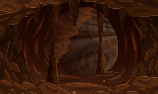 Eine dunkle höhlenlandschaft Kostenlosen Vektoren