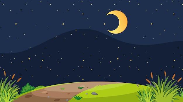 Eine einfache naturlandschaft bei nacht Premium Vektoren
