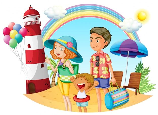 Eine familie am strand mit leuchtturm Premium Vektoren