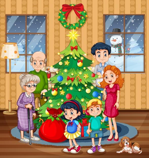Eine familie, die weihnachten feiert Premium Vektoren