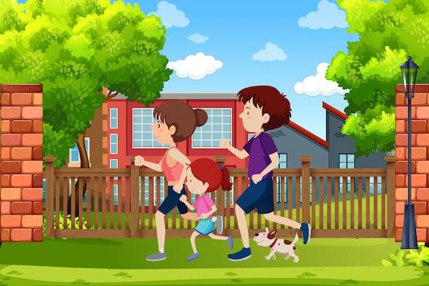 Eine familie läuft im park Premium Vektoren