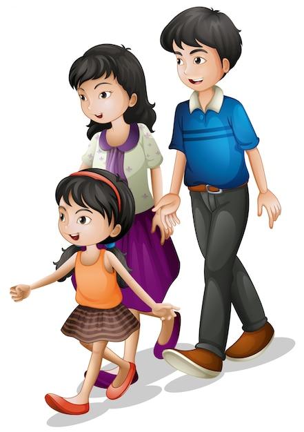 Eine familie zu fuß Kostenlosen Vektoren