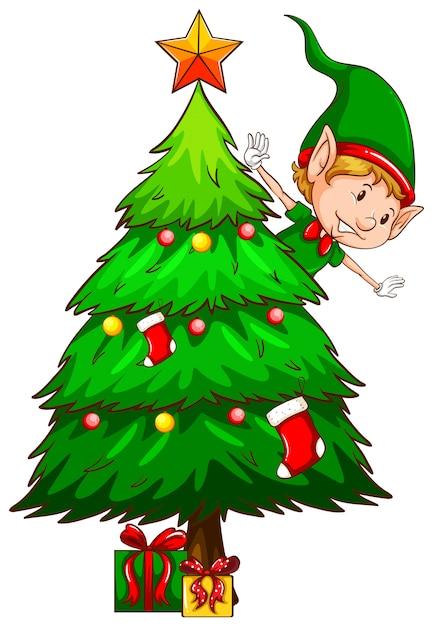 Eine farbige skizze eines weihnachtsbaumes Kostenlosen Vektoren