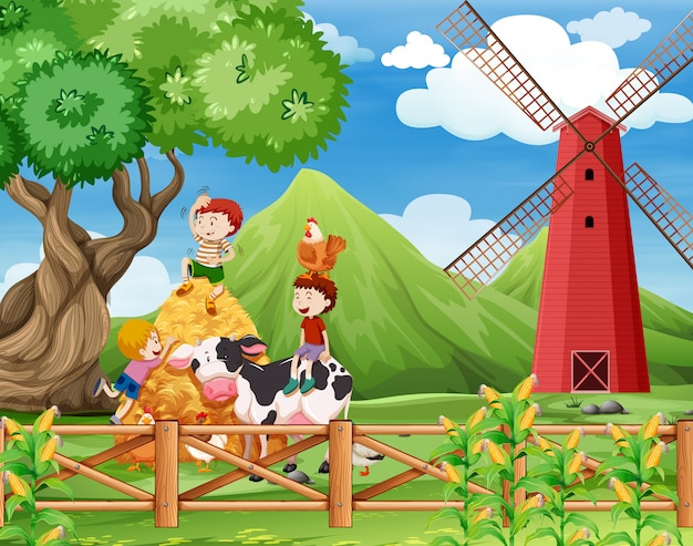 Eine farm mit kühenszene Kostenlosen Vektoren