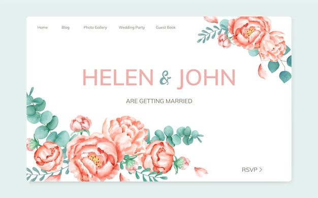 Eine florale themed hochzeitskarte Kostenlosen Vektoren