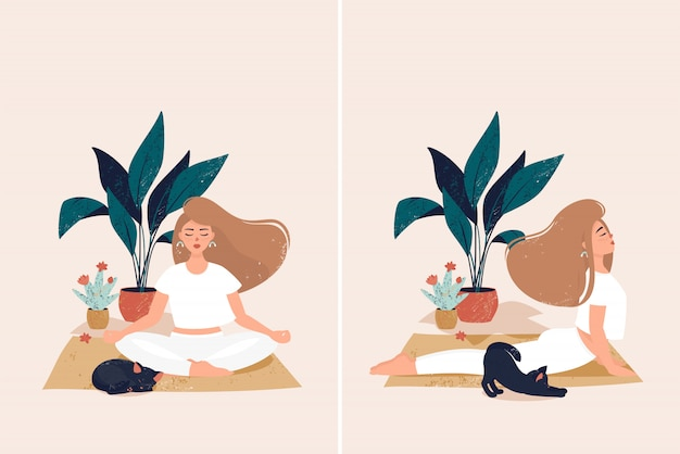 Eine frau, die yoga am gemütlichen haus mit netter schwarzer katze durch töpfe mit anlagen tut Premium Vektoren