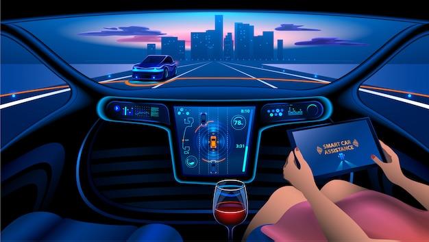 Eine frau fährt ein autonomes auto in der stadt auf der autobahn. das display zeigt informationen an Premium Vektoren