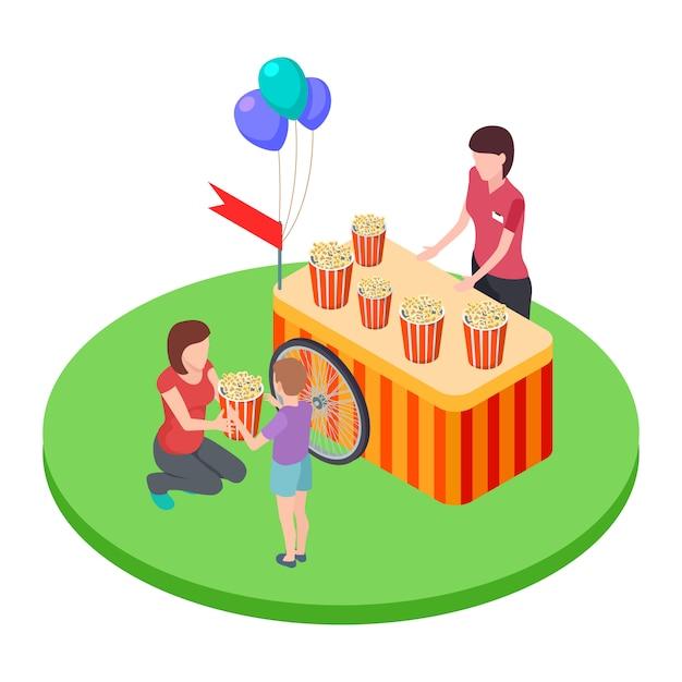 Eine frau verkauft popcorn im park und gibt einem jungen eine isometrische illustration für einen popcornkorb Premium Vektoren