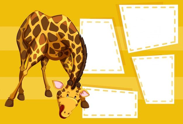 Eine giraffe auf leere notiz Kostenlosen Vektoren