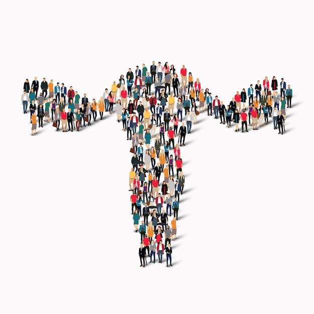 Eine große gruppe von menschen in form der gebärmutter humanmedizin. Premium Vektoren