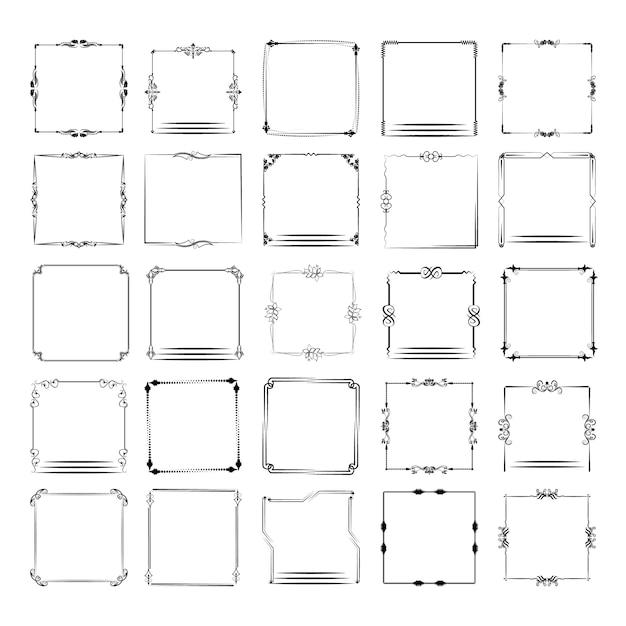 Eine große reihe von frames in verschiedenen formen. vektor-frame-set Premium Vektoren
