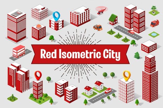 Eine große rote Stadt isometrischer städtischer Objekte. Eine Reihe von städtischen Gebäuden, Wolkenkratzern, Häusern Premium Vektoren