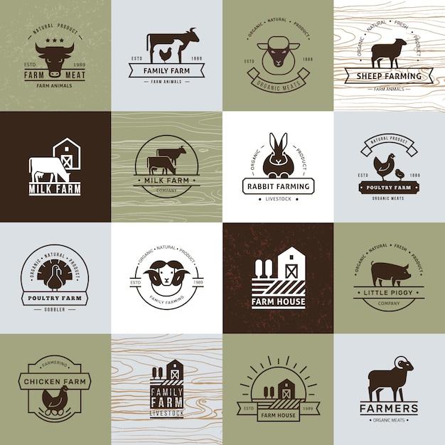 Eine große sammlung von vektor-logos für landwirte, lebensmittelgeschäfte und andere branchen. Premium Vektoren