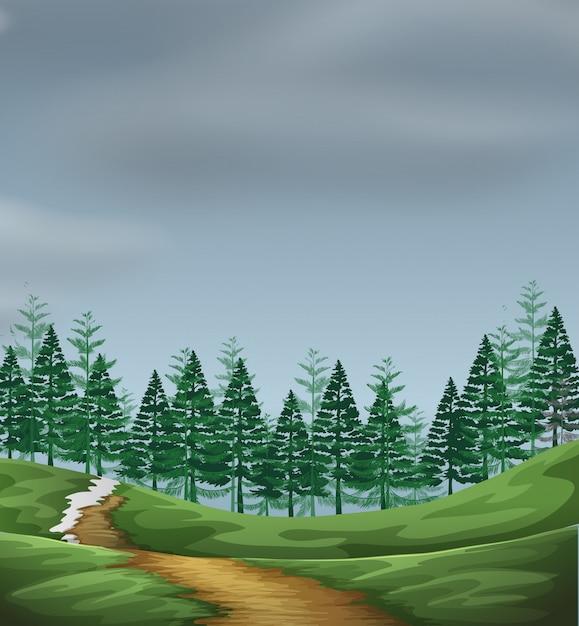 Eine grüne naturlandschaft Kostenlosen Vektoren