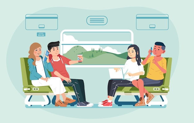 Eine gruppe junger männer und frauen, die mit dem zug reisen, sitzen sich gegenüber und unterhalten sich über illustrationen. verwendet für banner, website-bild und andere Premium Vektoren