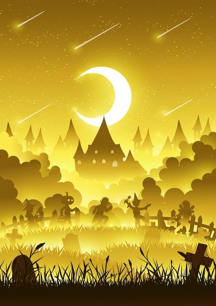 Eine gruppe kinder laufen glücklich auf halloween-nacht Premium Vektoren