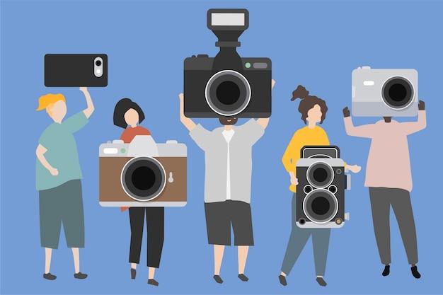 Eine gruppe leute, die verschiedene arten von kameras anzeigen Kostenlosen Vektoren