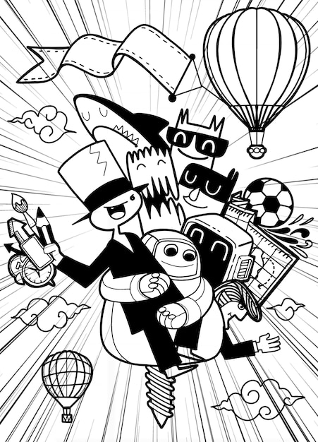 Eine gruppe lustiger comicfiguren fliegt zurück in die schule Premium Vektoren