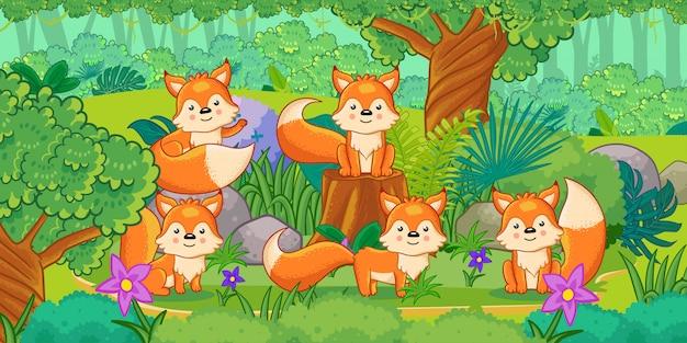 Eine gruppe nette füchse, die im wald genießen Premium Vektoren