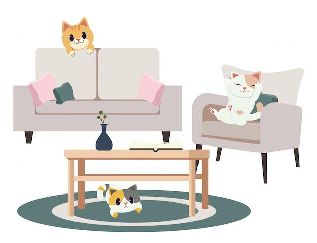 Eine gruppe netter katzen des charakters spielen verstecken im haus Premium Vektoren
