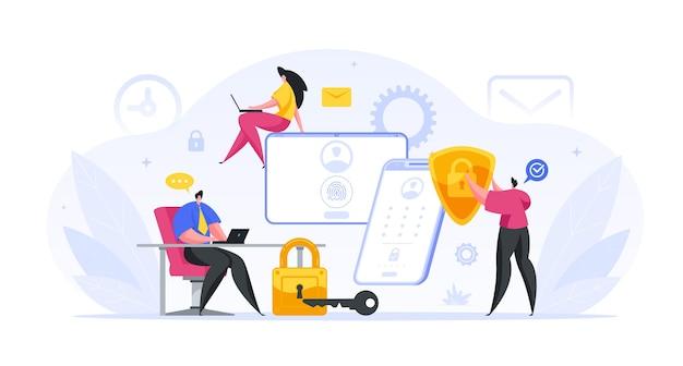 Eine gruppe von bankspezialisten hat das web-schutzkonzept für kundenkonten eingerichtet. männliche und weibliche charaktere führen rechnung. biometrische sicherheitsprüfung von finanzkonten Premium Vektoren