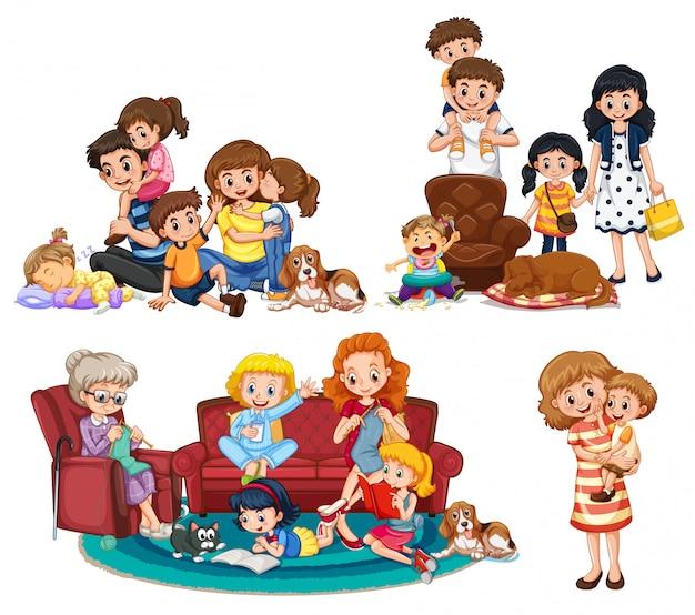 Eine gruppe von familienmitgliedern Premium Vektoren
