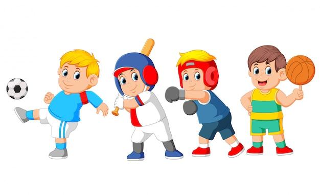 Eine gruppe von profisportarten mit verschiedenen sportarten Premium Vektoren