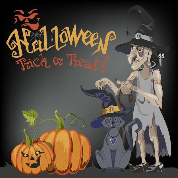 Eine halloween-katze in einem hexenhut Premium Vektoren