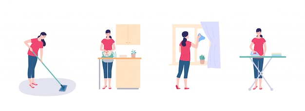 Eine hausfrau wäscht geschirr Premium Vektoren