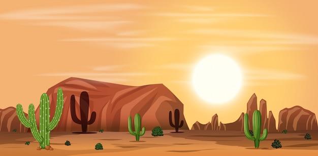 Eine heiße wüstenlandschaft Premium Vektoren