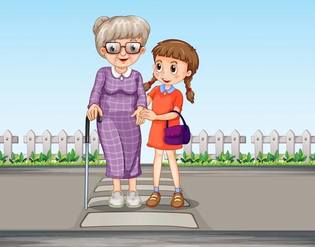 Eine helfende großmutter des mädchens, die die straße kreuzt Kostenlosen Vektoren