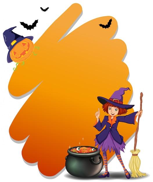 Eine hexe, die einen besenstiel neben ihrem magischen topf hält Kostenlosen Vektoren